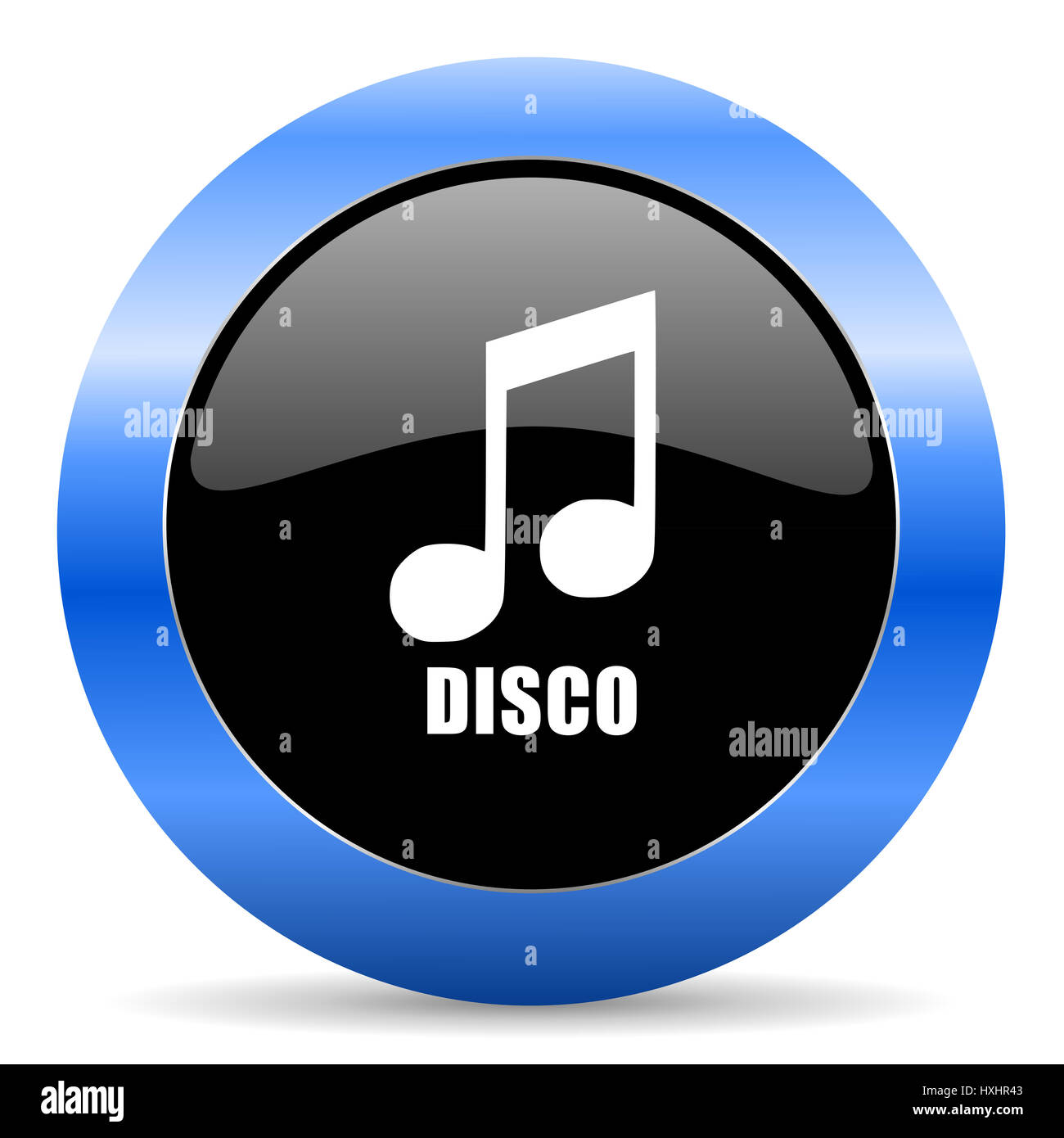 Disco music black and blue web design round internet icon with shadow on white background. - Stock Image