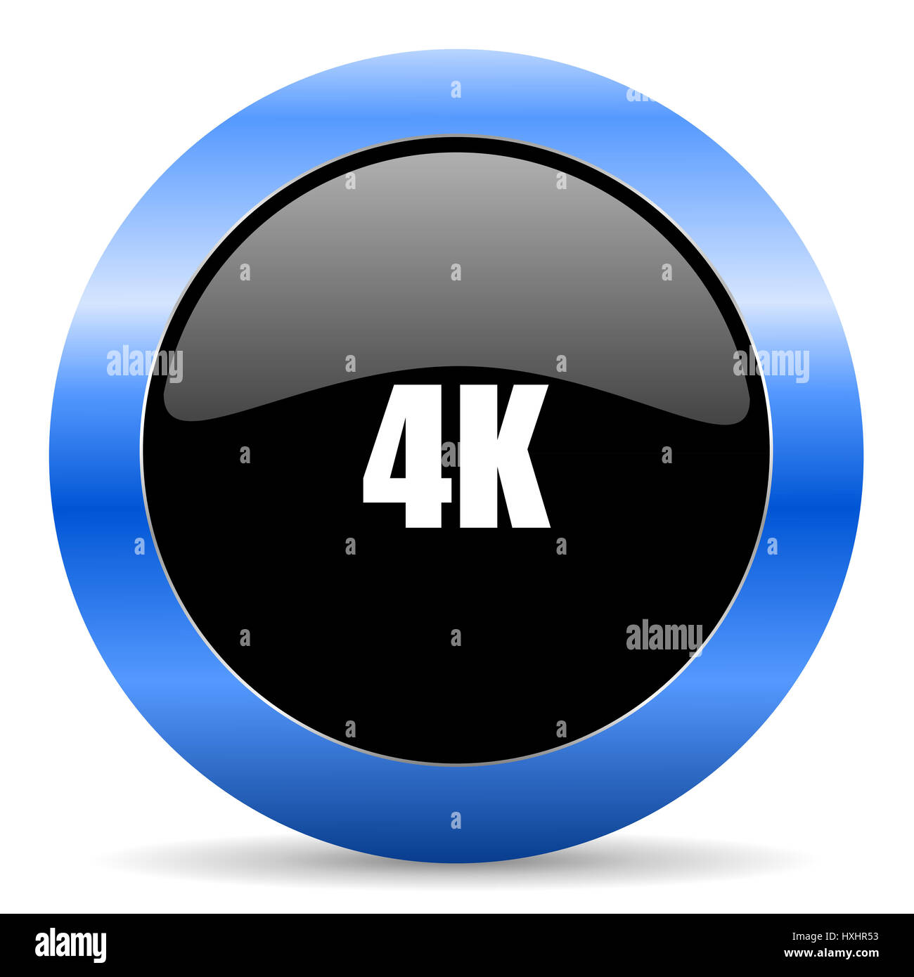 4k black and blue web design round internet icon with shadow on white background. - Stock Image