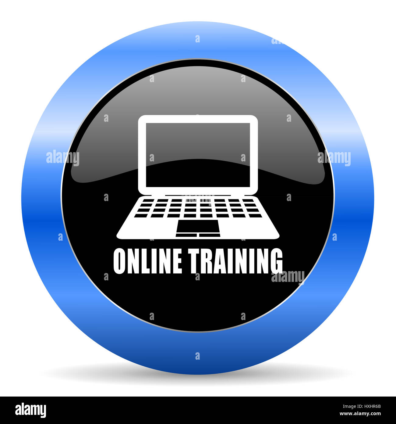 Online training black and blue web design round internet icon with shadow on white background