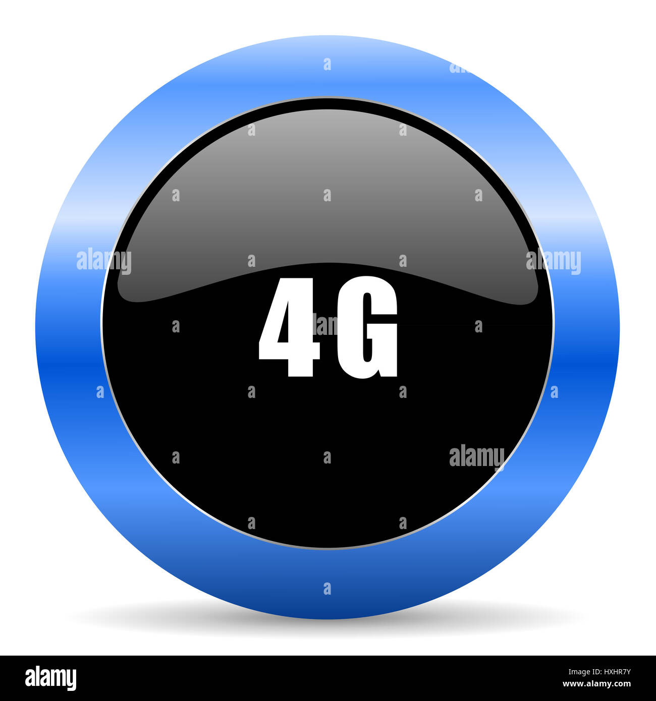 4g black and blue web design round internet icon with shadow on white background. - Stock Image