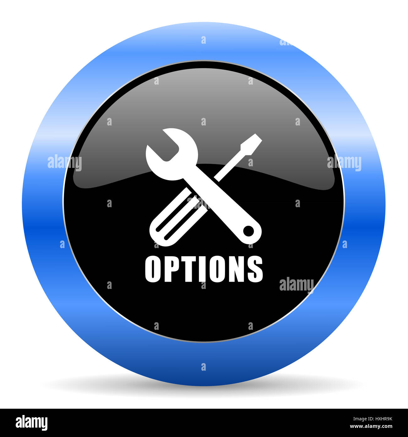 Options black and blue web design round internet icon with shadow on white background. - Stock Image