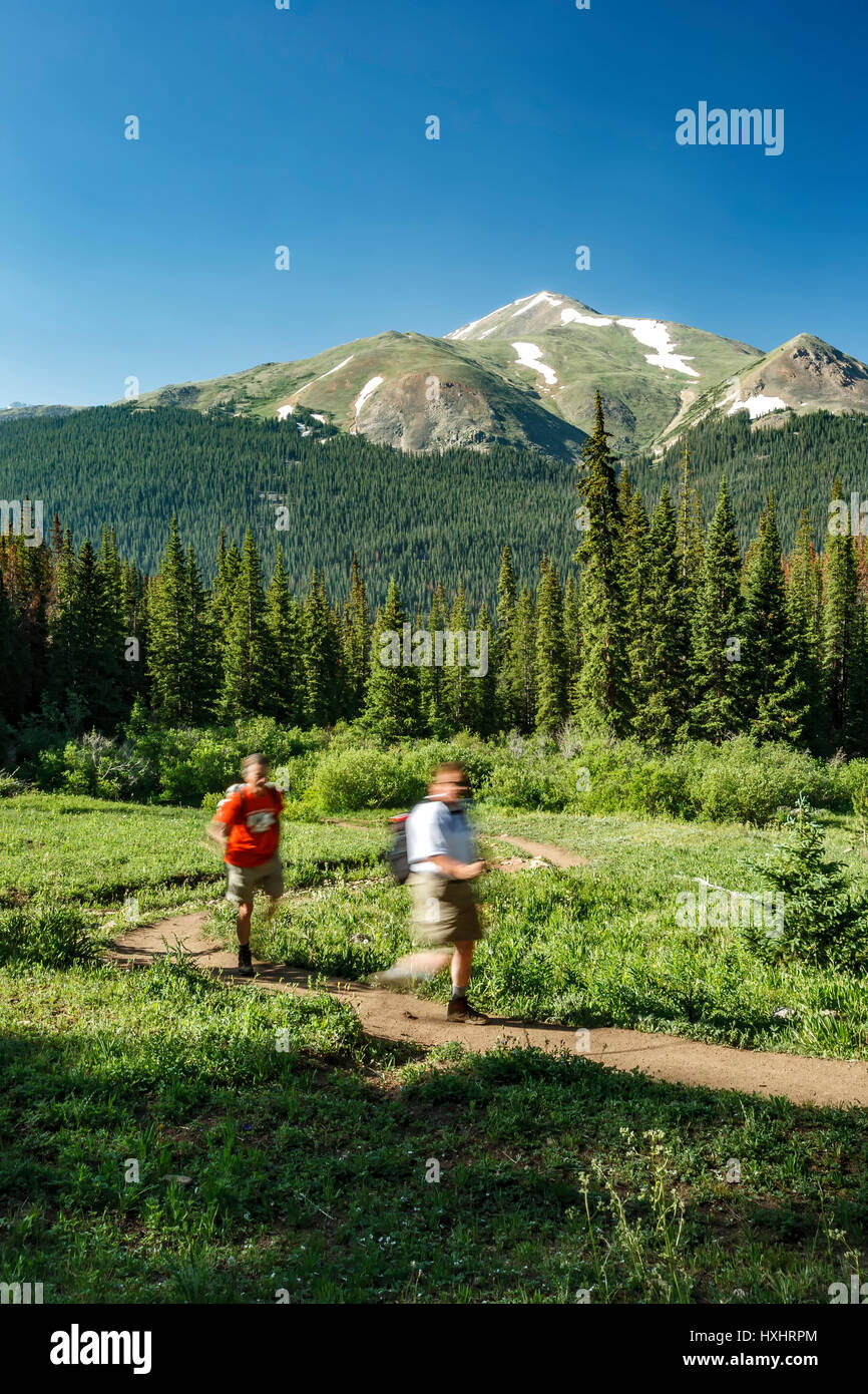 Hikers on Herman Gulch Trail, Arapaho National Forest, Colorado USA - Stock Image