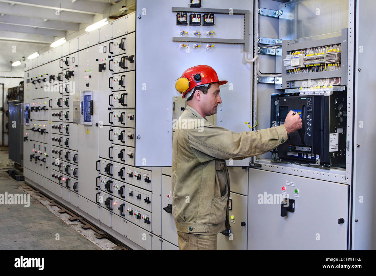 Electrical Distribution Board Circuit Breakers Stock Photos Wiring Diagram High Voltage Switch Gear Veliky Novgorod Russia June 26 2007 Service For Switchgear