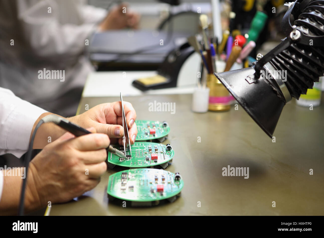 Circuit Board Manufacturing Stock Photos Electronic Design Services Electronics Manual Assembly Of Soldering Close Up The