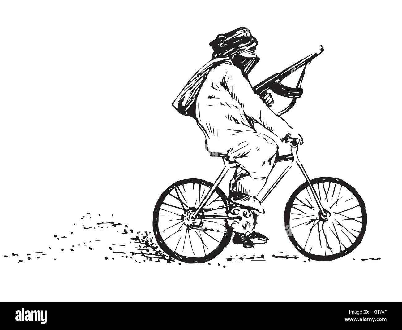 Terrorist with a gun with the face covered riding a bicycle, black and white isolated hand drawn vector illustration - Stock Image