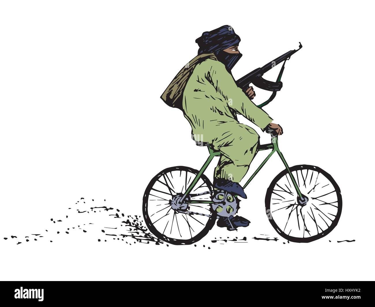 Terrorist with a gun with the face covered riding a bicycle, color isolated hand drawn vector illustration in ink - Stock Image