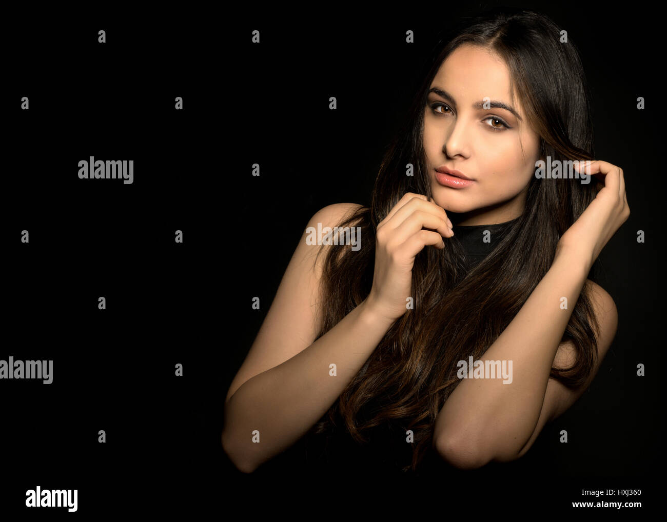 Fashion portrait of the beautiful young lady Stock Photo