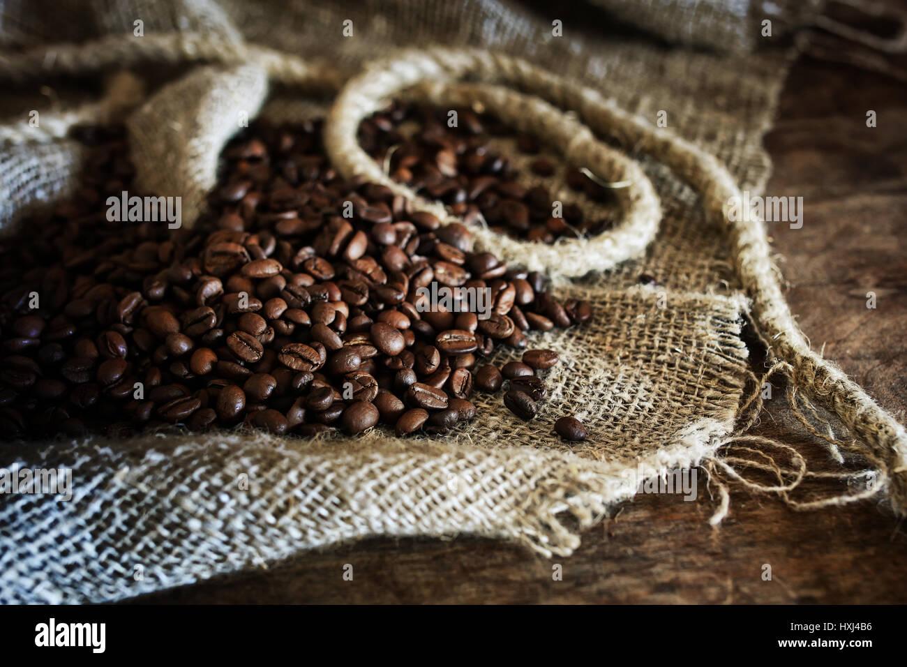 coffee bean on textile background - Stock Image