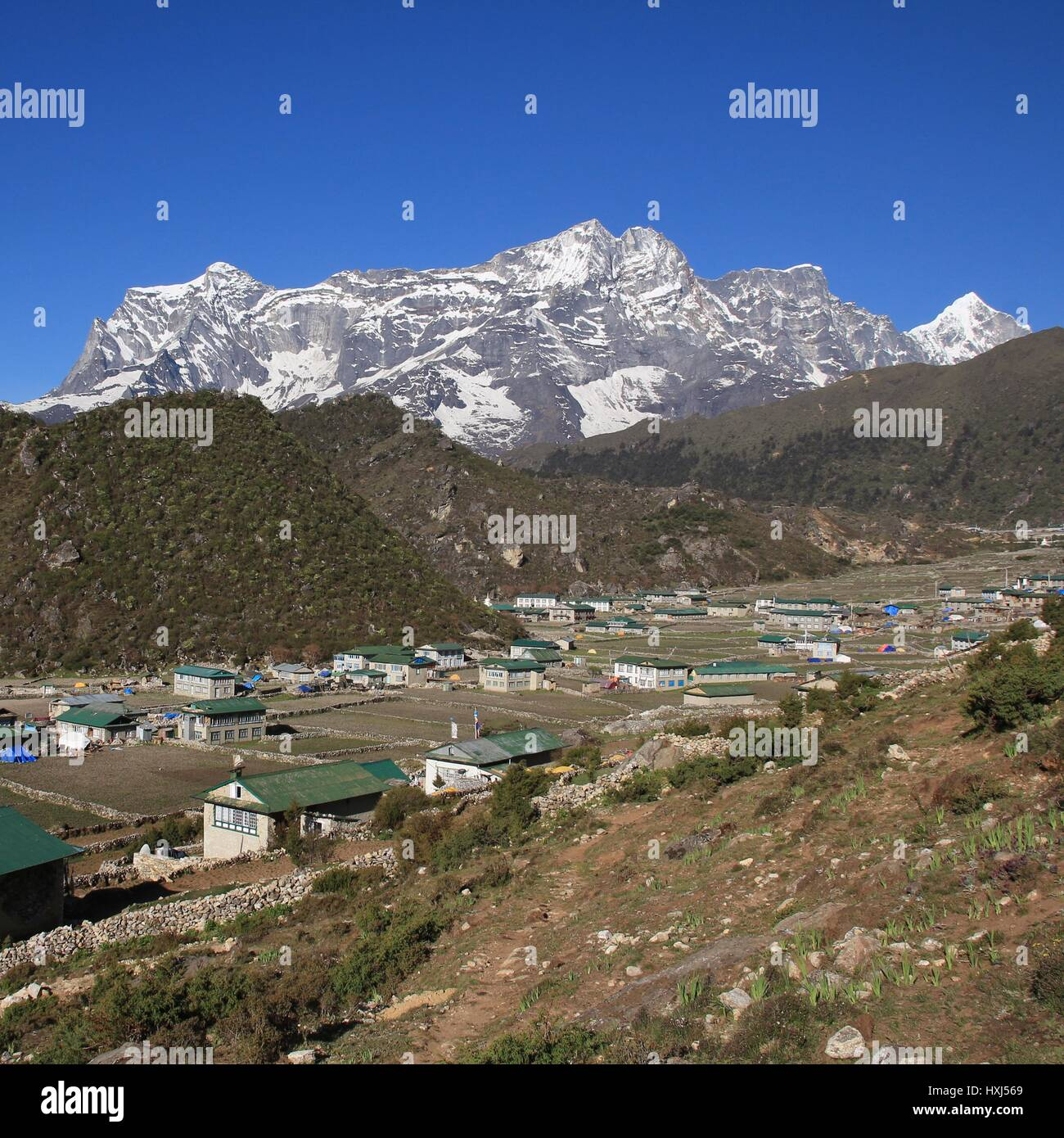 Sherpa village Khumjung. - Stock Image