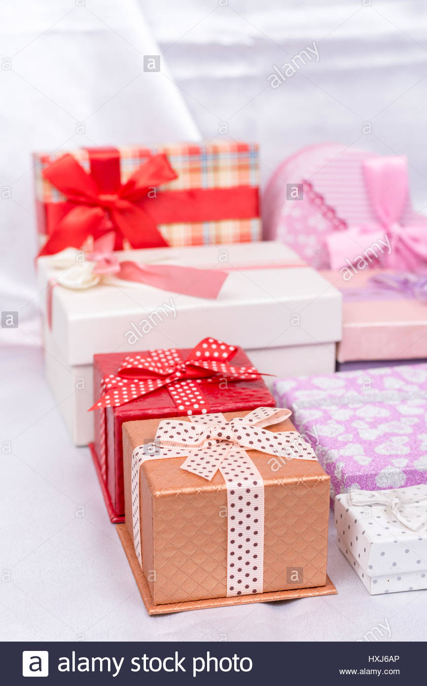 Pile Gift Boxes Bows Over Stock Photos & Pile Gift Boxes Bows Over ...