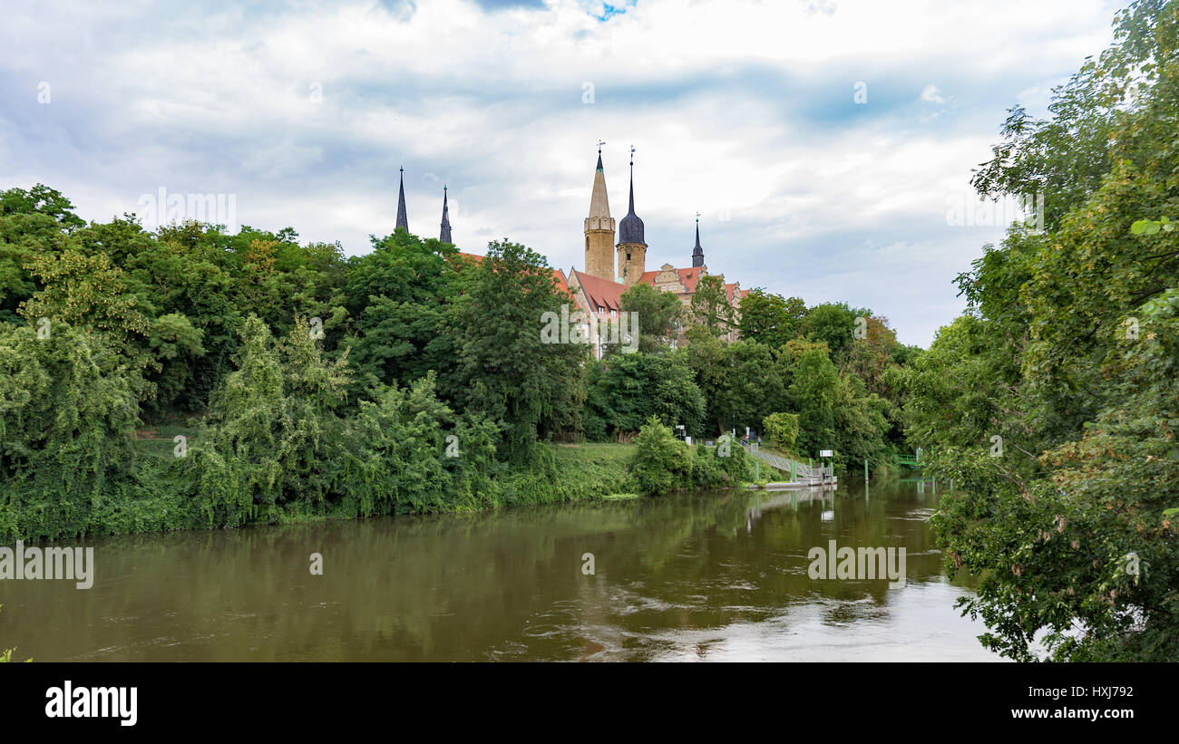 castle merseburg seen from river saale - Stock Image