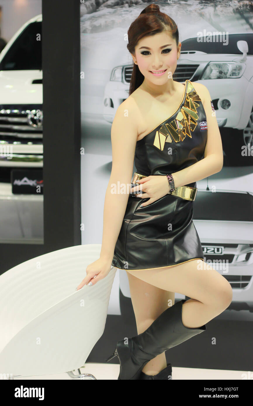 BANGKOK, THAILAND - MARCH 30, 2014: Unidentified female presenter pose in the 35th Bangkok International Motor Show - Stock Image