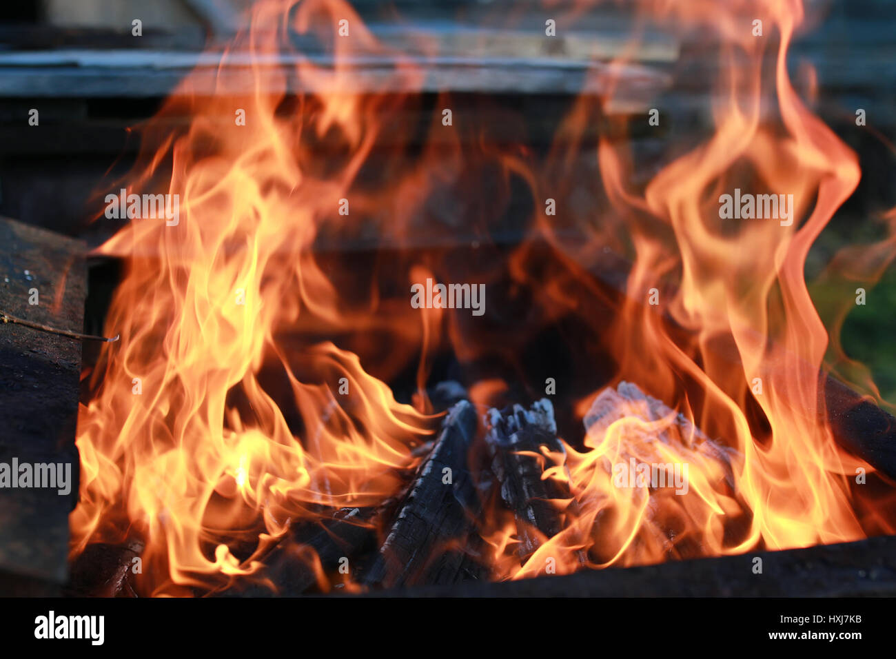 coal and fire flame - Stock Image