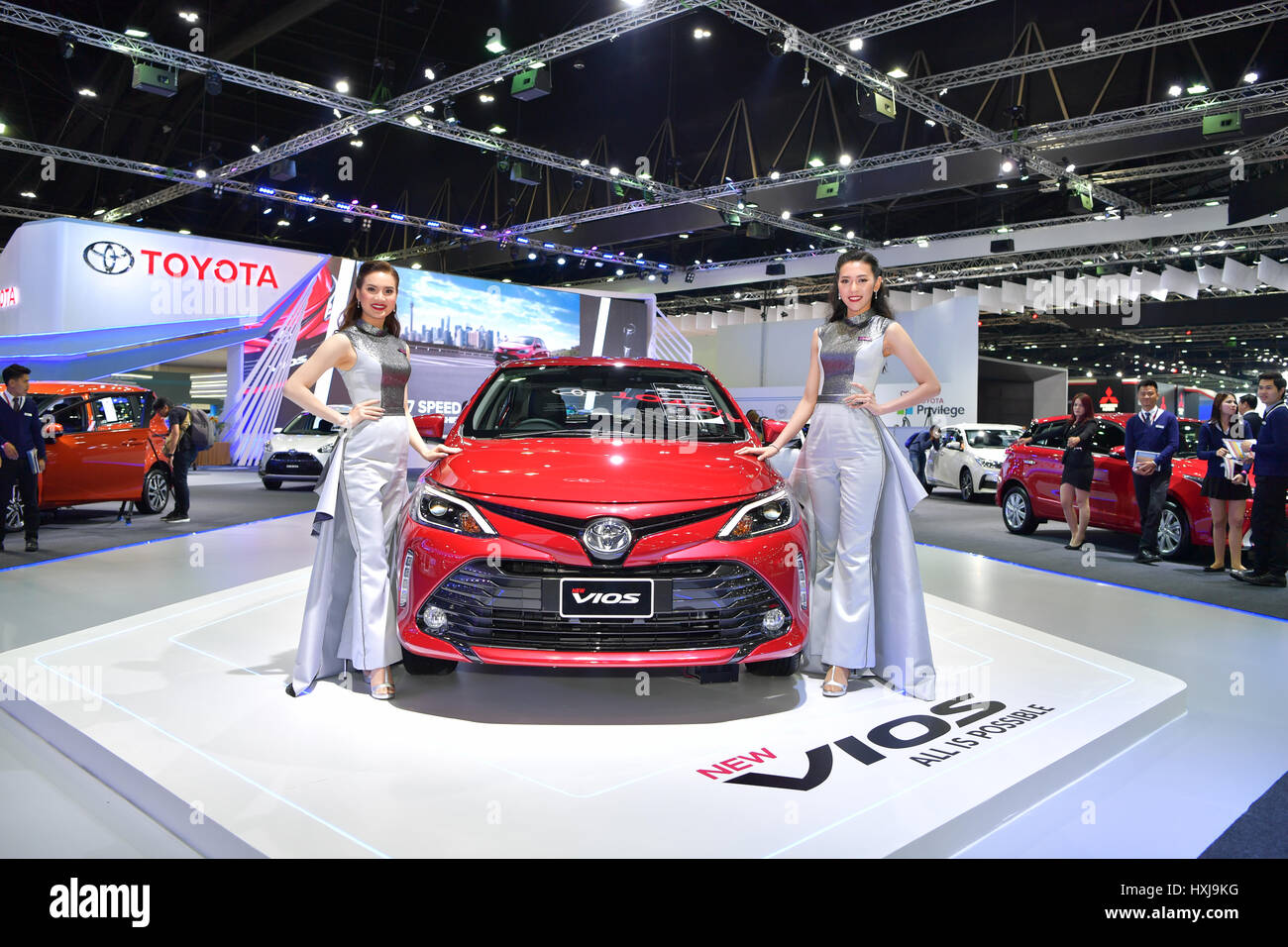 Bangkok, Thailand. 28th Mar, 2017. Toyota New Vios Car On Display At The  38th Bangkok International Thailand Motor Show 2017 On March 28, 2017  Nonthaburi, ...