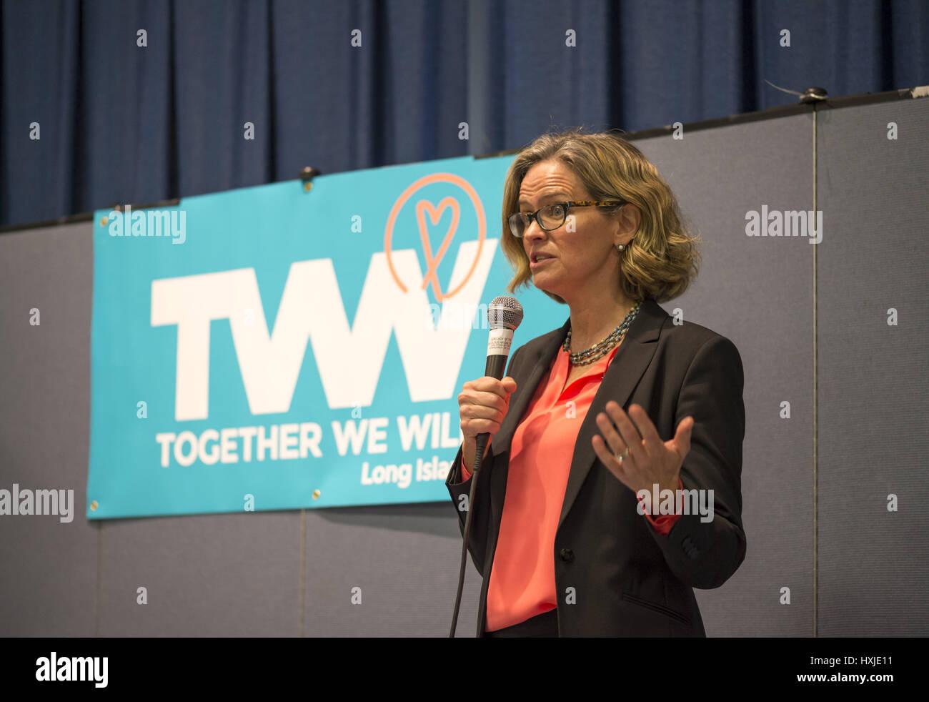 Wyandanch, New York, USA. 26th Mar, 2017. LAURA CURRAN, Nassau County Legislator (Democrat - District 5) speaks - Stock Image