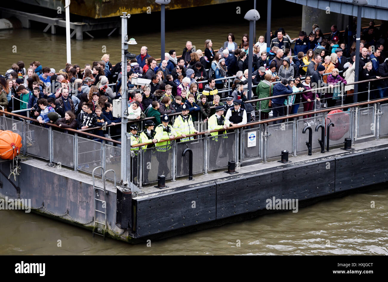 London, UK. 29th Mar, 2017. Police look out over the River Thames by Westminster Bridge today after a reported incident - Stock Image