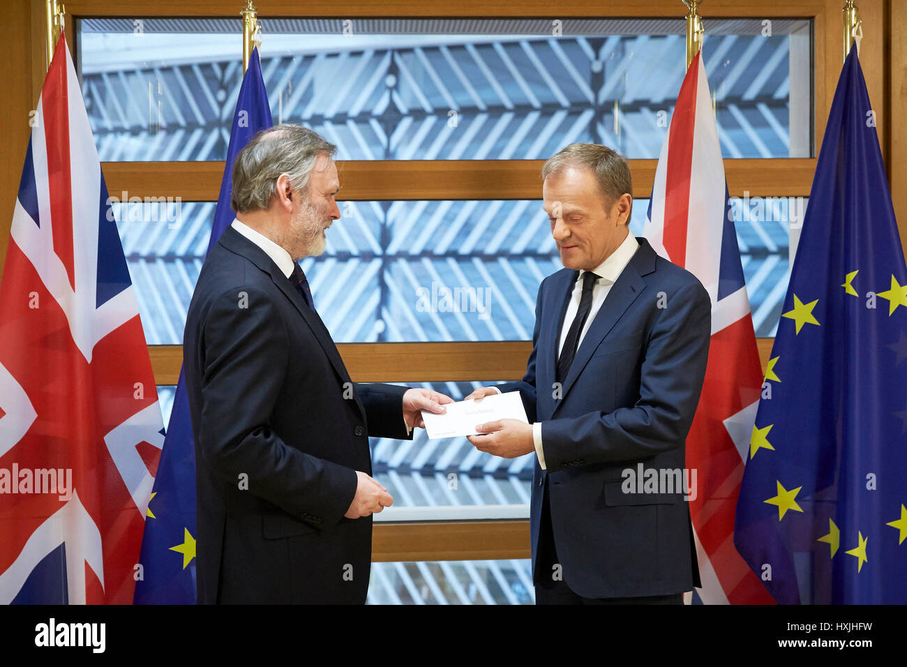 Brussels, Belgium. 29th Mar, 2017. Handover of UK Prime Minister Theresa May's letter of notification (article - Stock Image