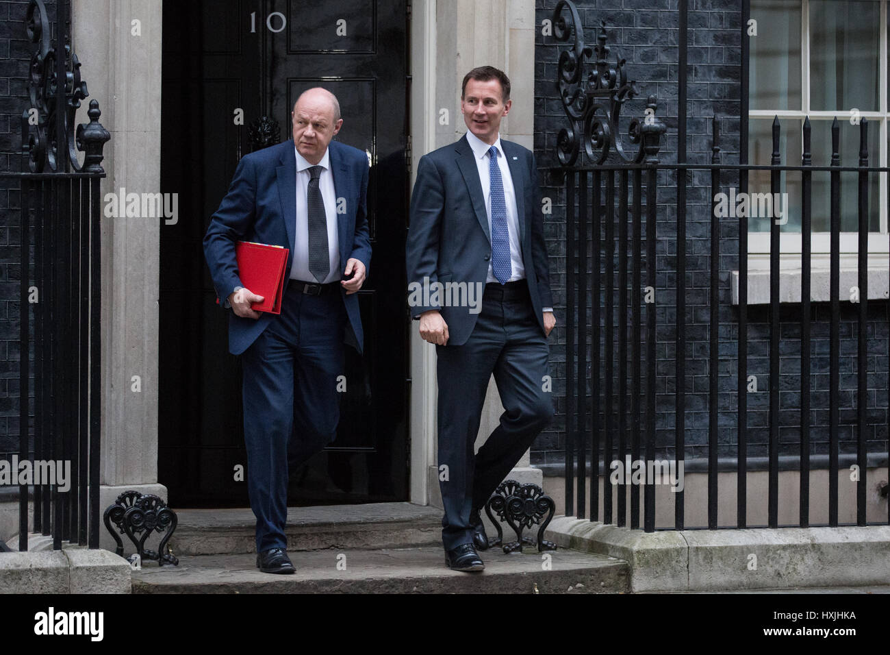 London, UK. 29th Mar, 2017. Jeremy Hunt MP, Secretary of State for Health, and Damian Green MP, Secretary of State - Stock Image