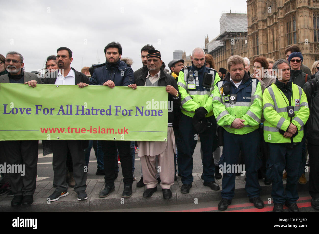 Westminster Bridge. London, UK. 29th Mar, 2017.  Colleagues of PC Keith Palmer, who was killed by the terrorist Stock Photo