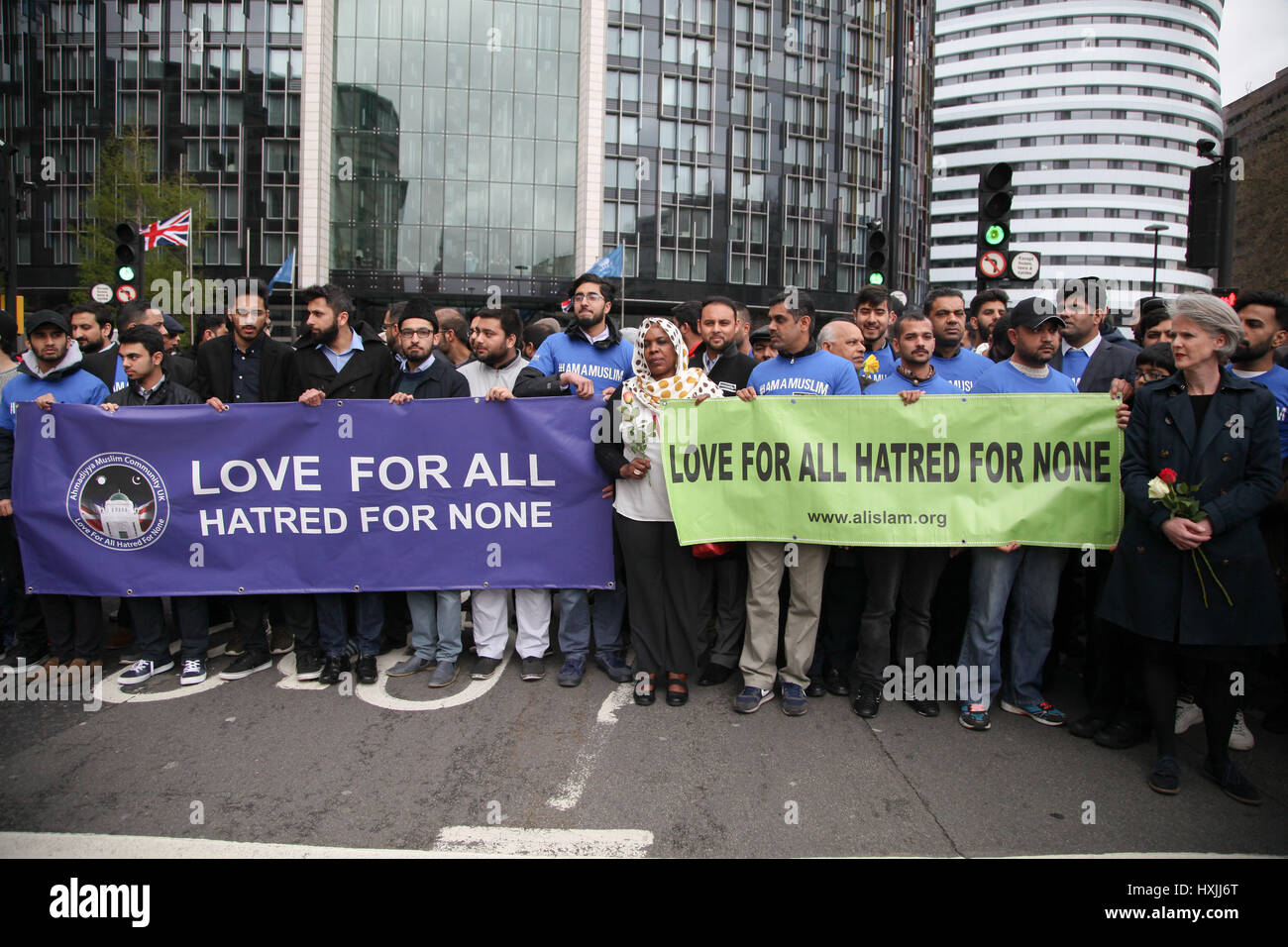 Westminster Bridge. London, UK. 29th Mar, 2017.  Colleagues of PC Keith Palmer, who was killed by the terrorist - Stock Image