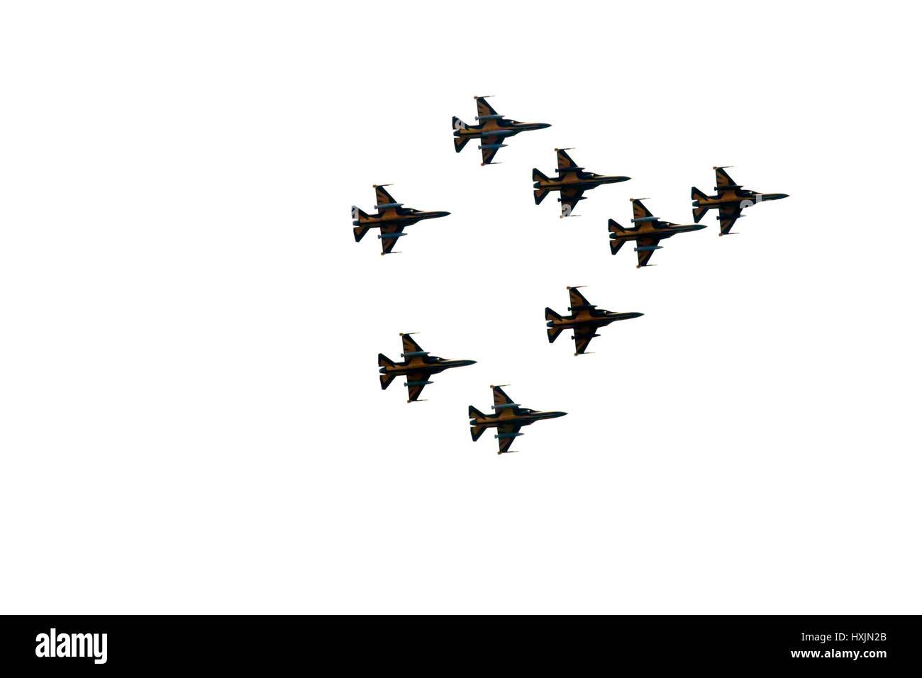 Kuala Lumpur, Malaysia. 29th Mar, 2017. The Republic of Korea Air Force Aerobatic Team (ROKAF T-50), Black Eagles, - Stock Image