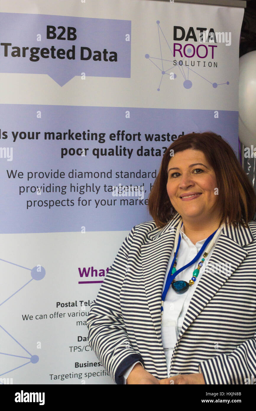 Justine Williams representing Data Root Solutions. Stall holders at the Cardiff Bierkeller Business Expo for local - Stock Image