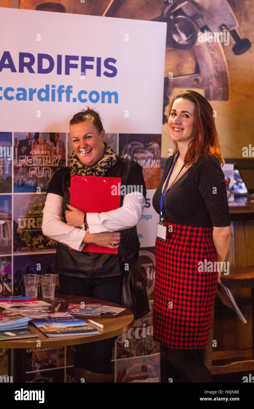 Melissa Knight Willis and Samantha Ellis representing Cardiff tourism. Stall holders at the Cardiff Bierkeller Business - Stock Image