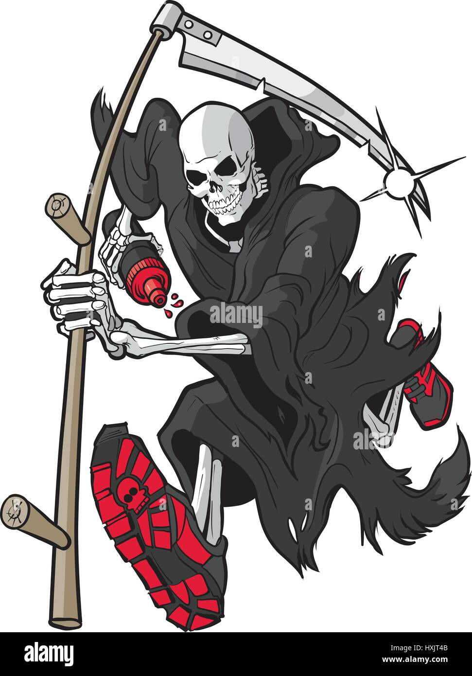 Vector cartoon clip art illustration of a Grim Reaper or Angel of Death running forward toward the viewer with a - Stock Image