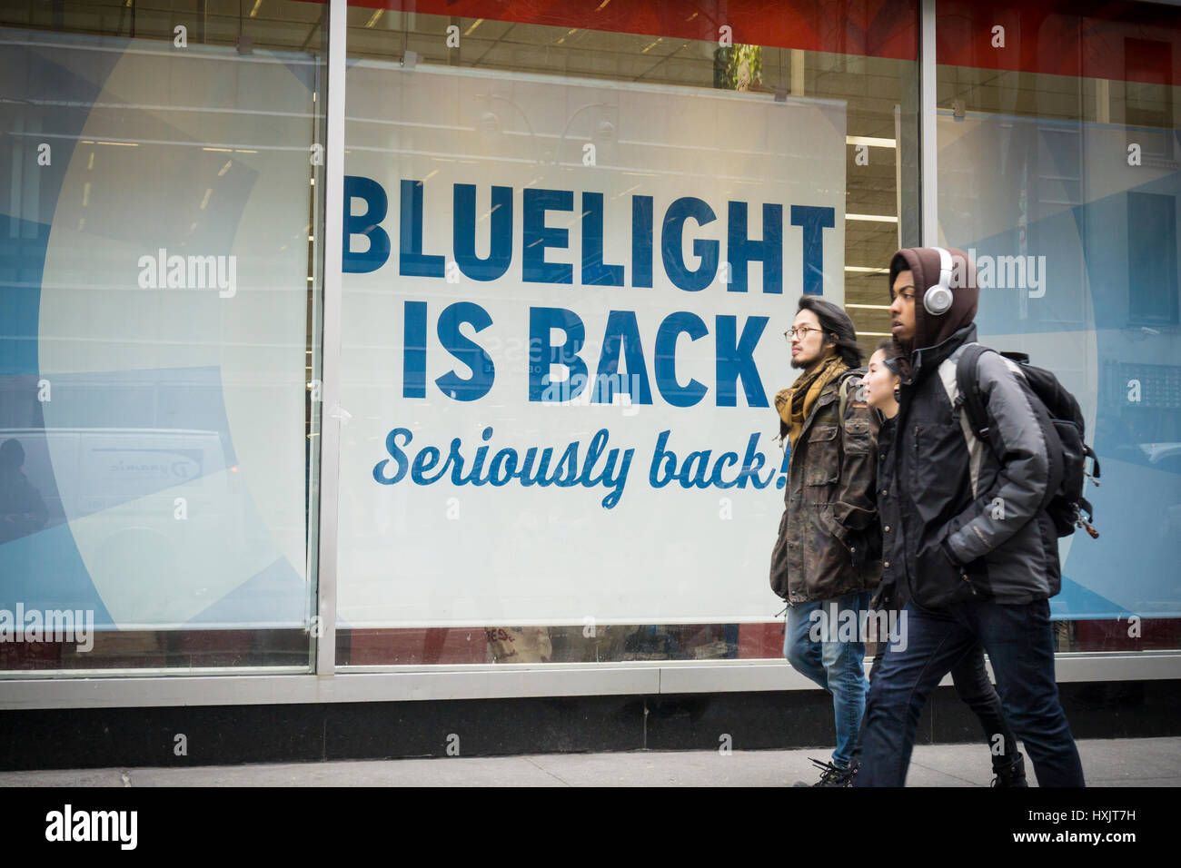 Bluelight is back at a KMart store in New York on Friday, March 24, 2017. The embattled Sears Holdings, the owner Stock Photo