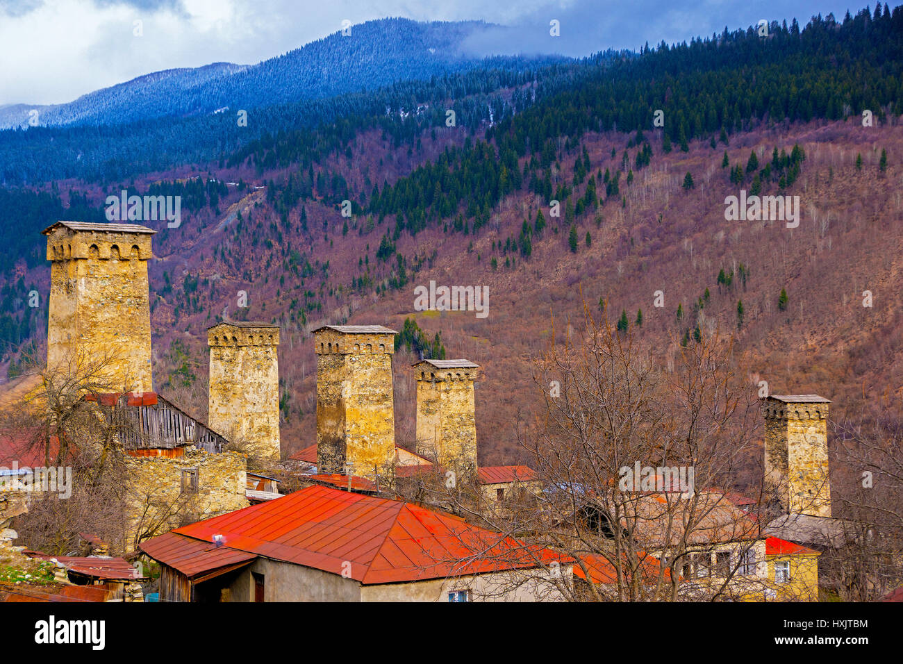 Tall houses of Mestia in the Caucasus Mountains of Republic of Georgia. - Stock Image