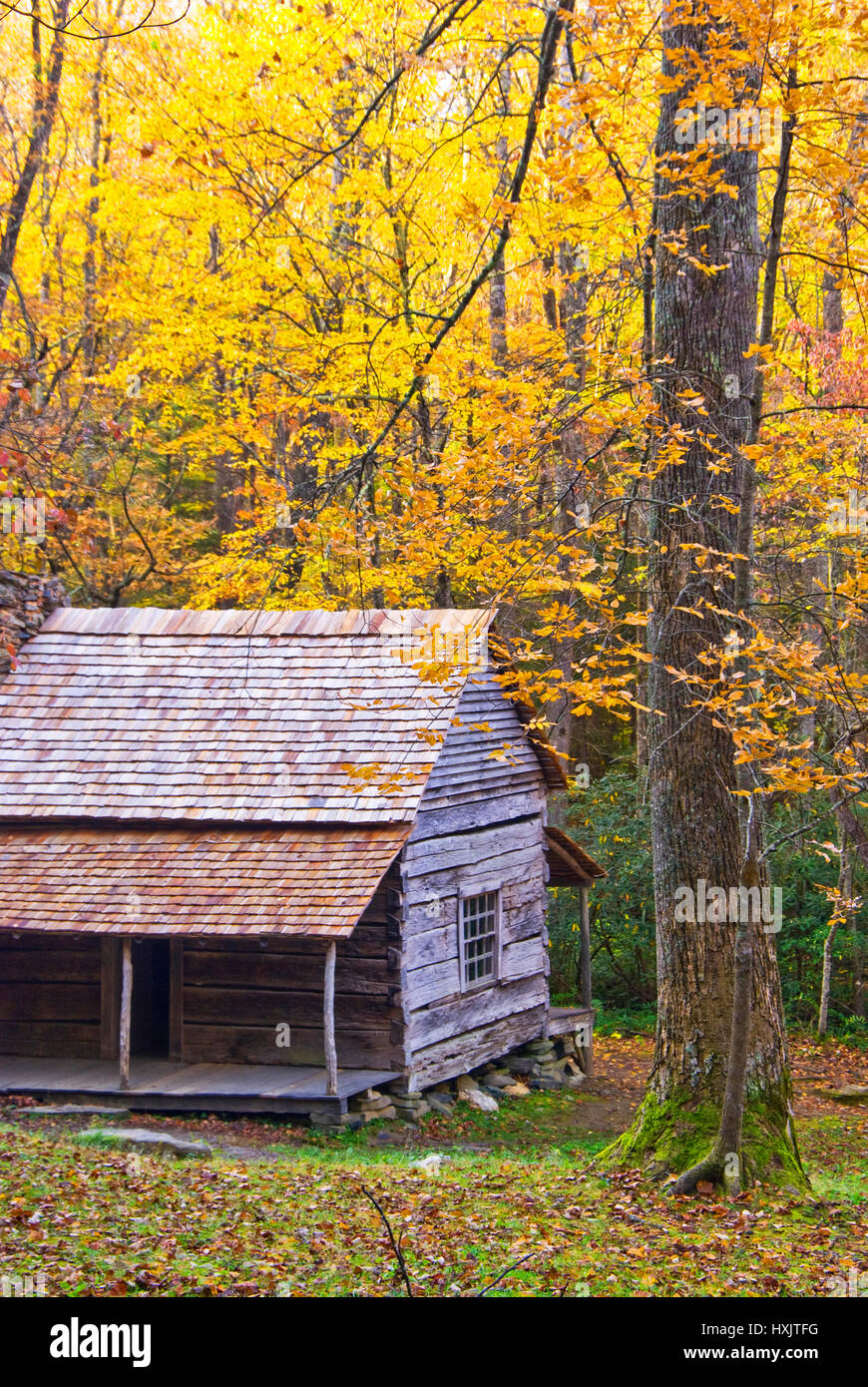 Log cabin in Smoky Mountains of Tennessee. Stock Photo