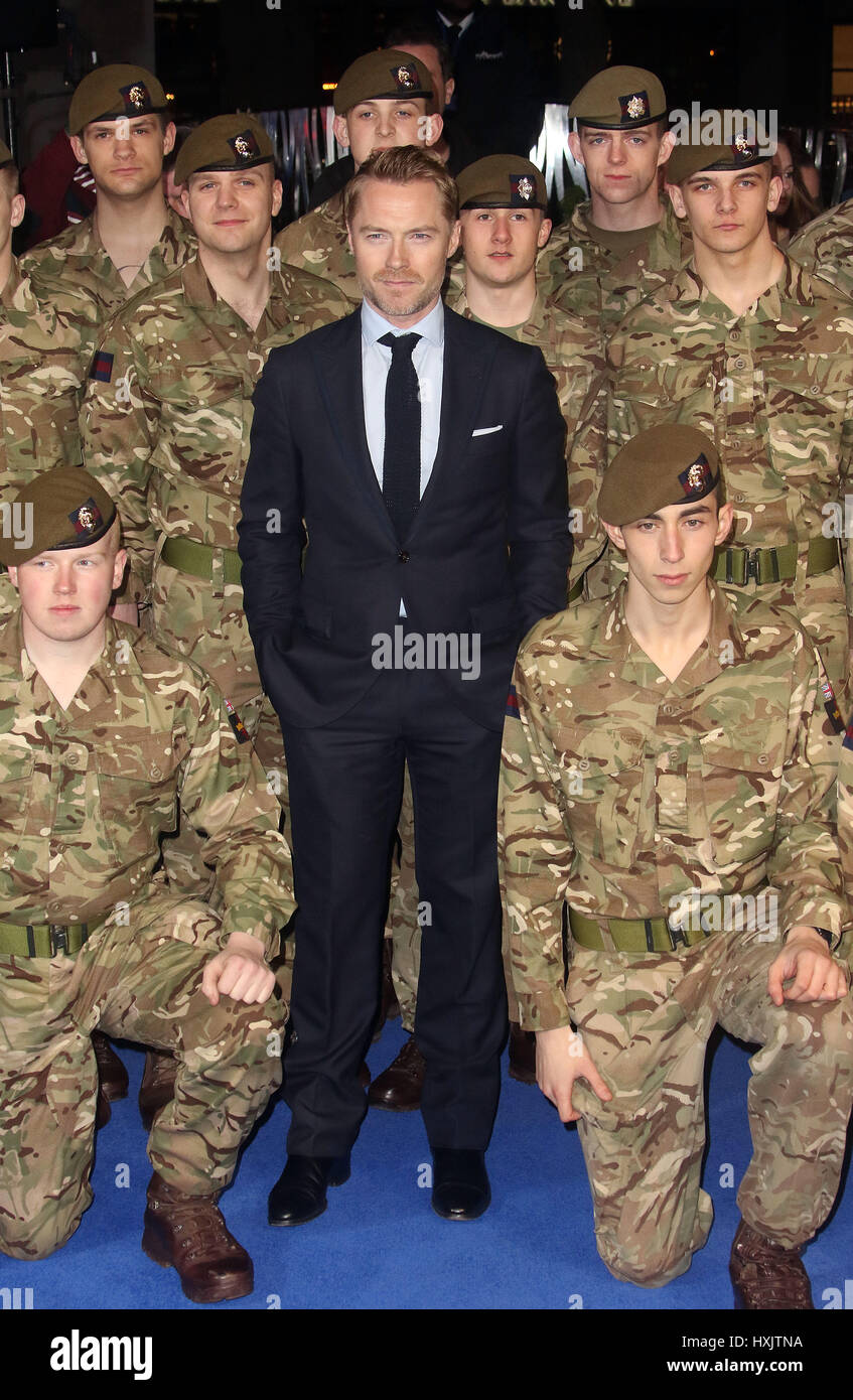 Mar 16, 2017 - Ronan Keating pose with members of the Armed Forces at Another Mother's Son' World Premiere, - Stock Image