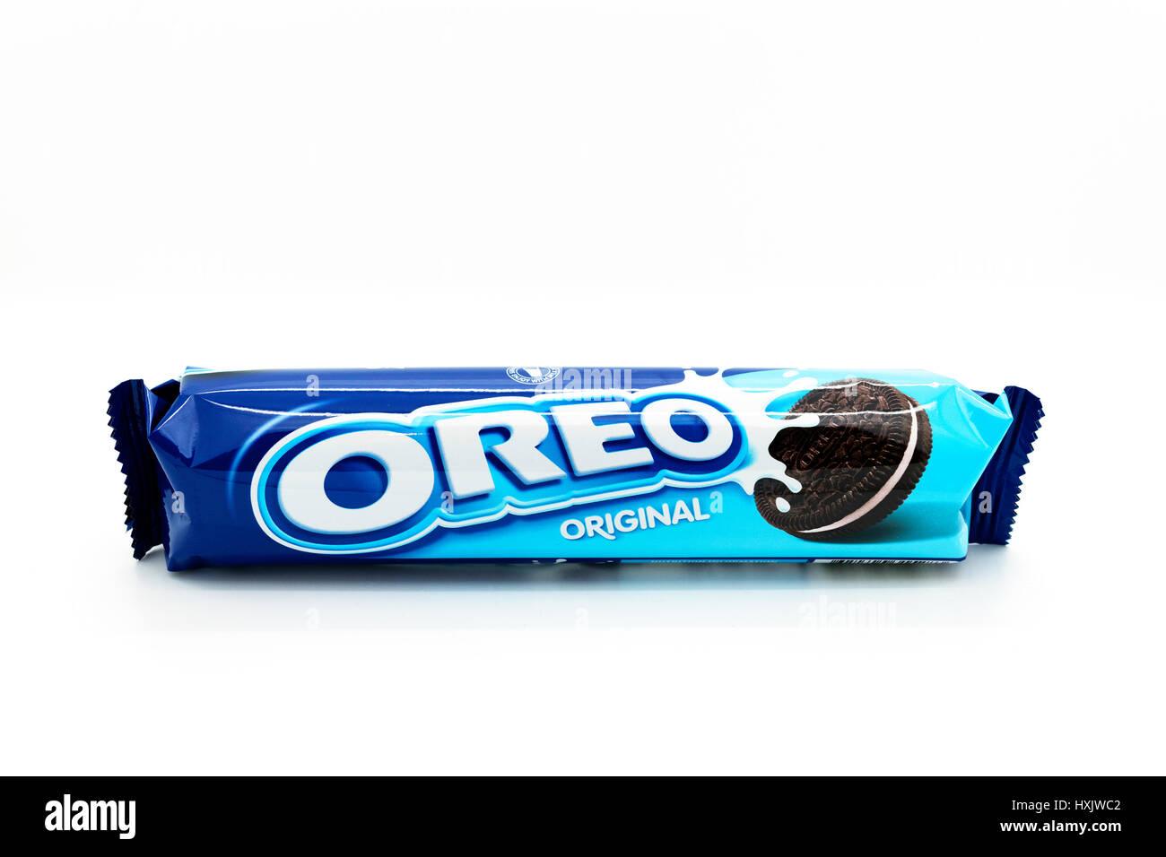 original oreo cookies on white background - Stock Image