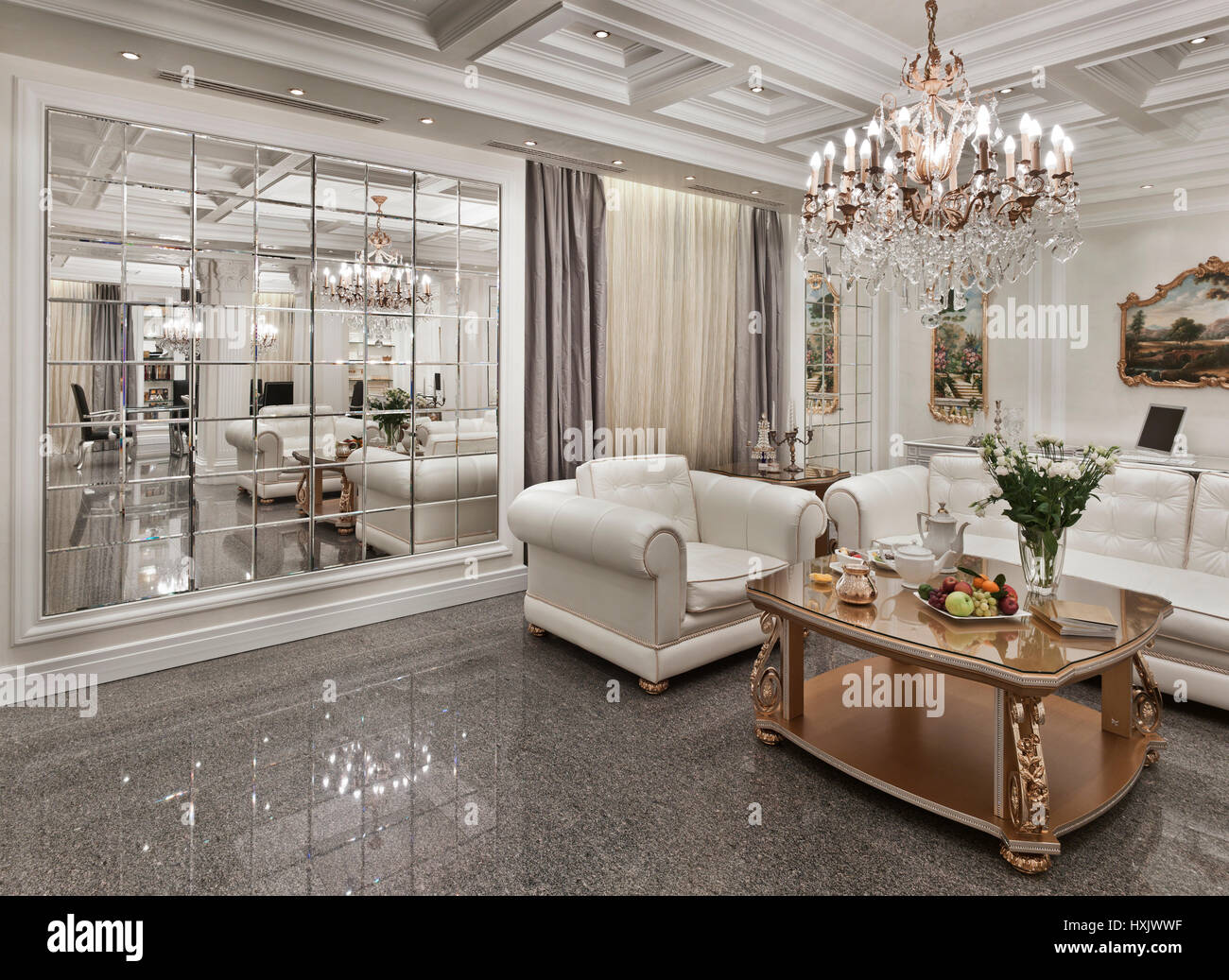 Show Room Luxury Interior In Moscow In A Classic Style With A Gold Furniture