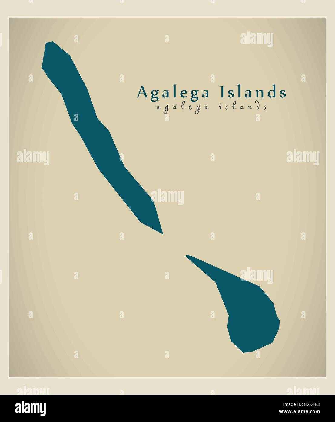 Modern Map - Agalega Islands MU Stock Vector