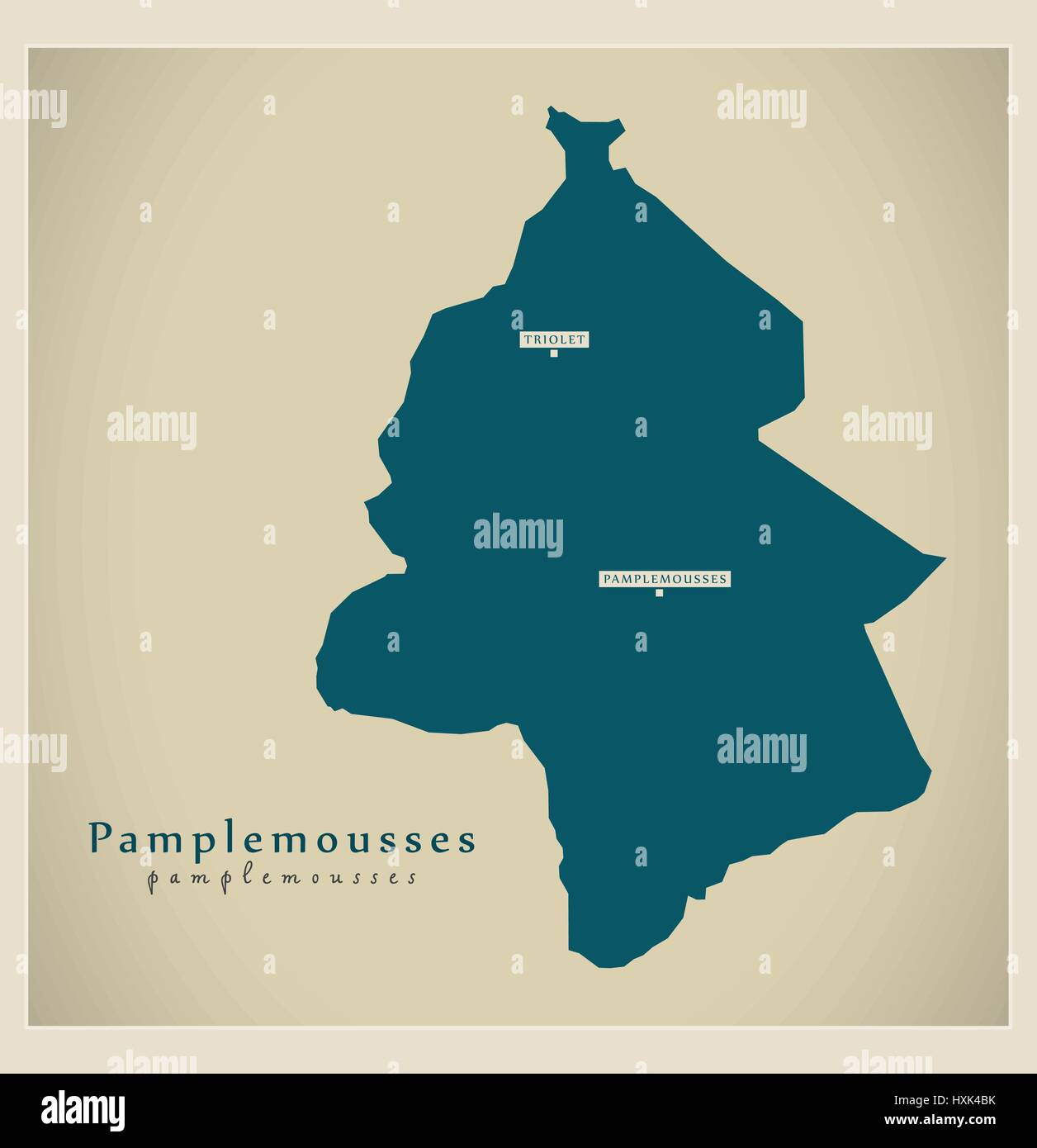 Modern Map - Pamplemousses MU Stock Vector