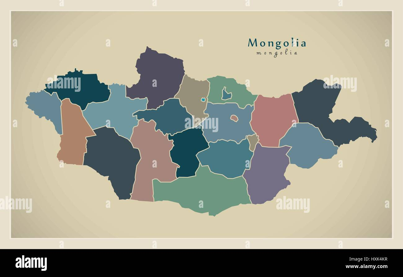 Modern Map - Mongolia with provinces political view MN - Stock Vector