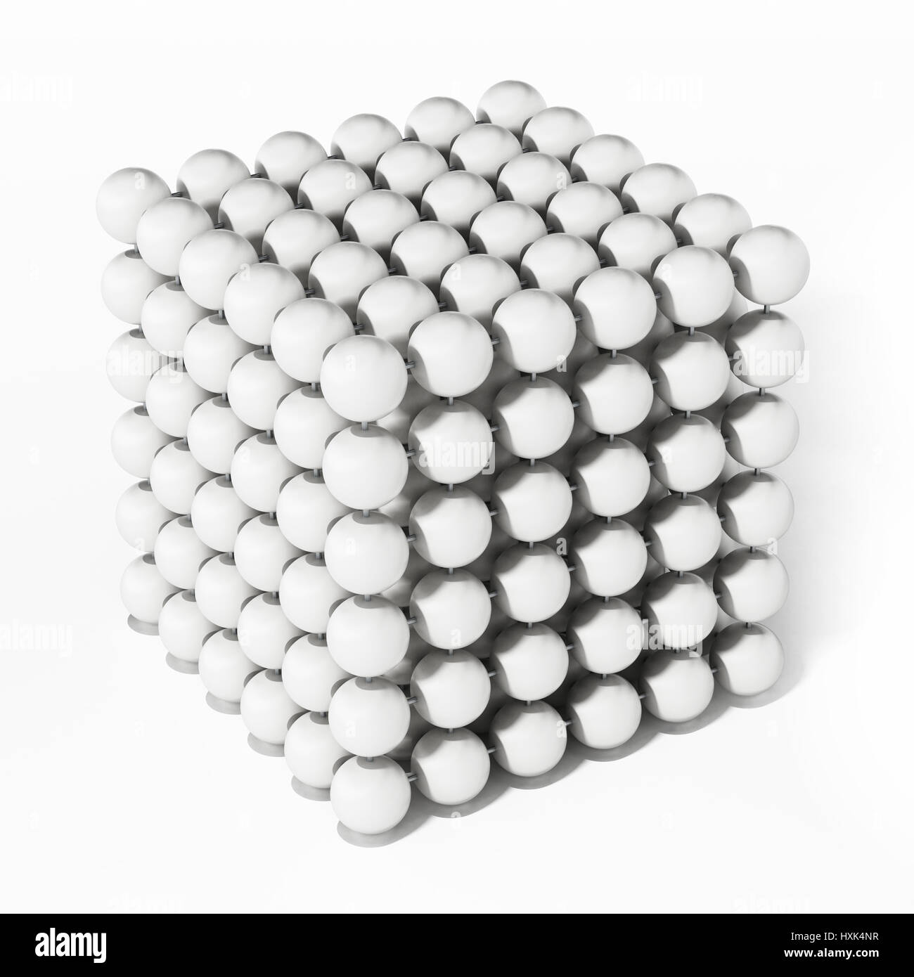 White spheres forming a cube shape. 3D illustration. - Stock Image