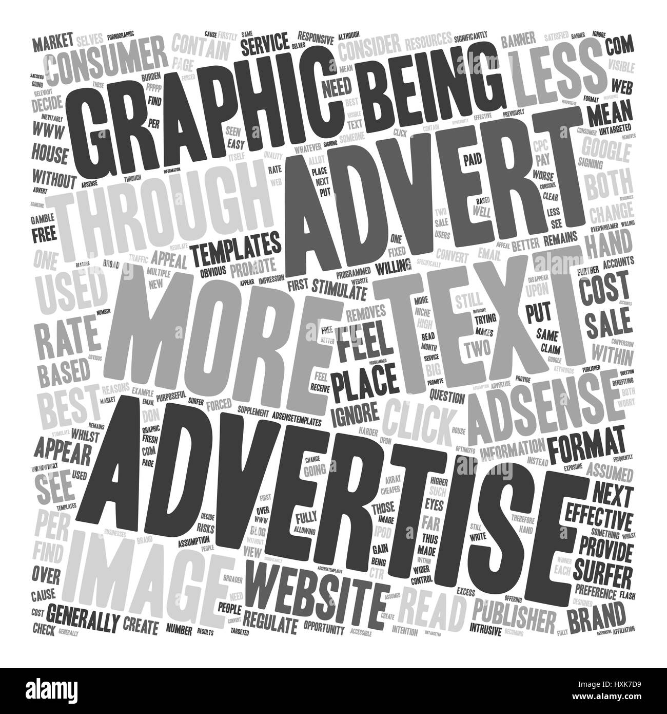 Text v Graphic on Adsense text background wordcloud concept - Stock Image