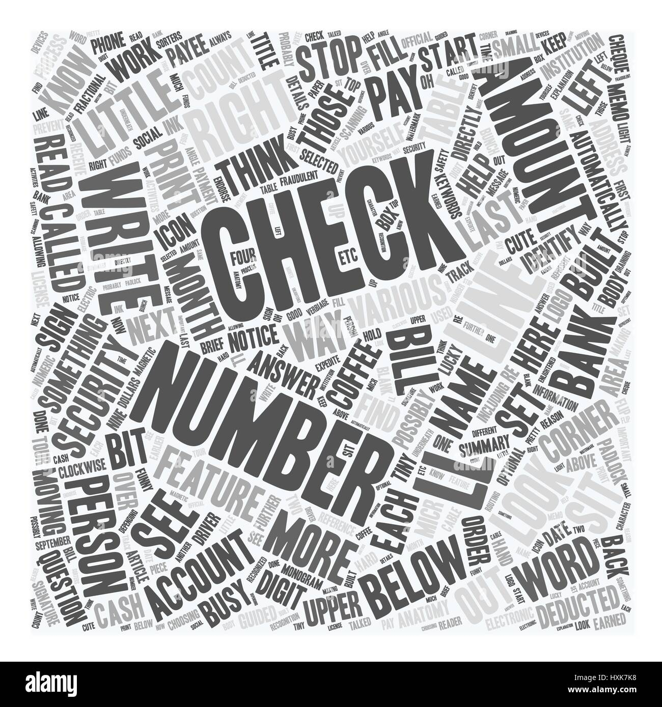 The Anatomy Of A Check Text Background Wordcloud Concept Stock