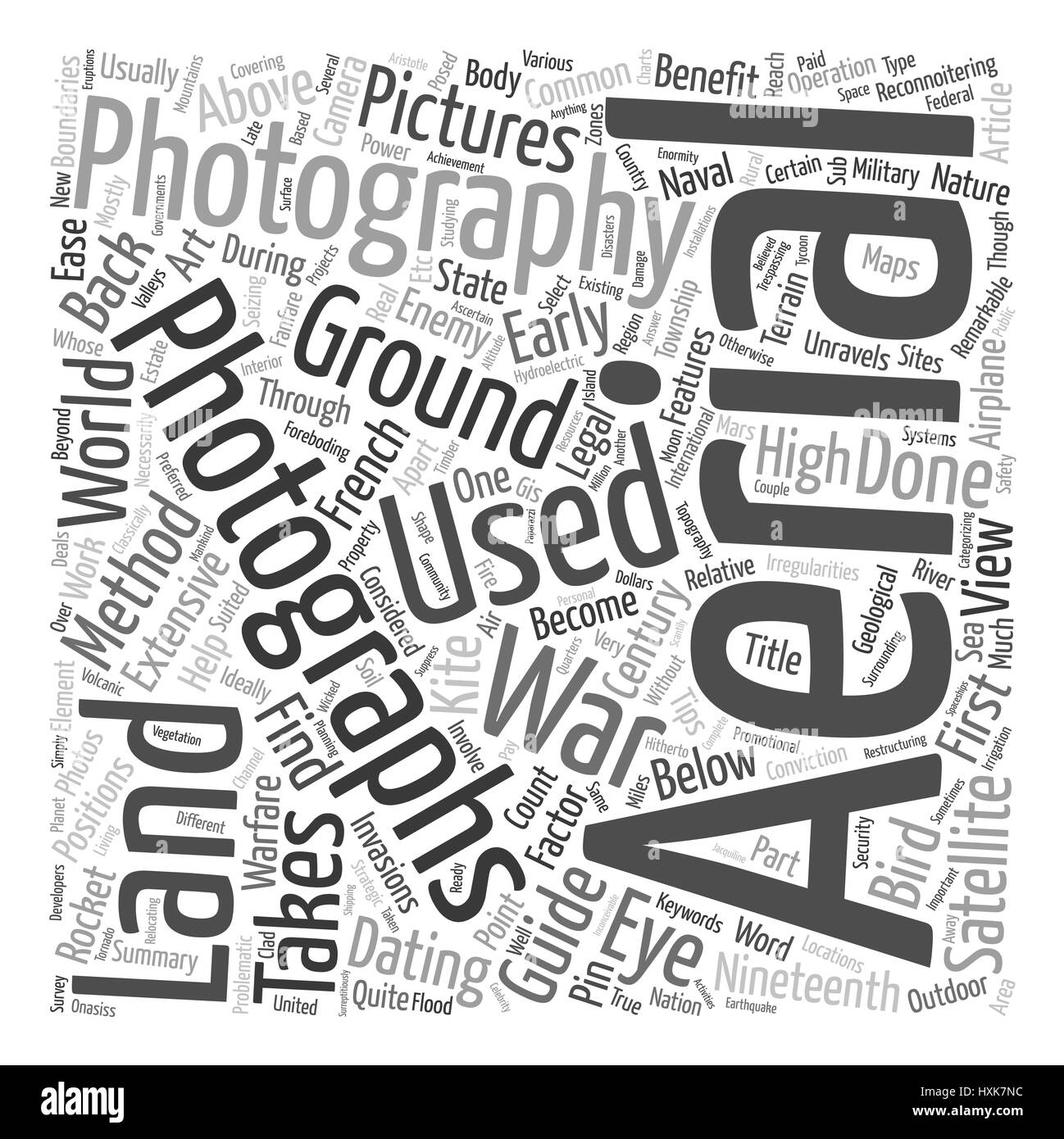 The Art Of Outdoor Aerial Photography text background wordcloud concept - Stock Vector