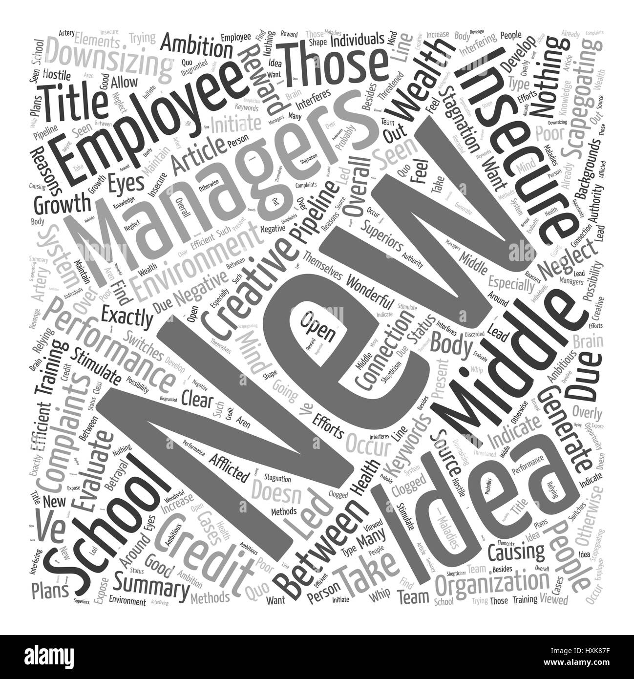 The Connection between the New Insecurity in Middle Management and Complaints of School Performance Word Cloud Concept - Stock Vector
