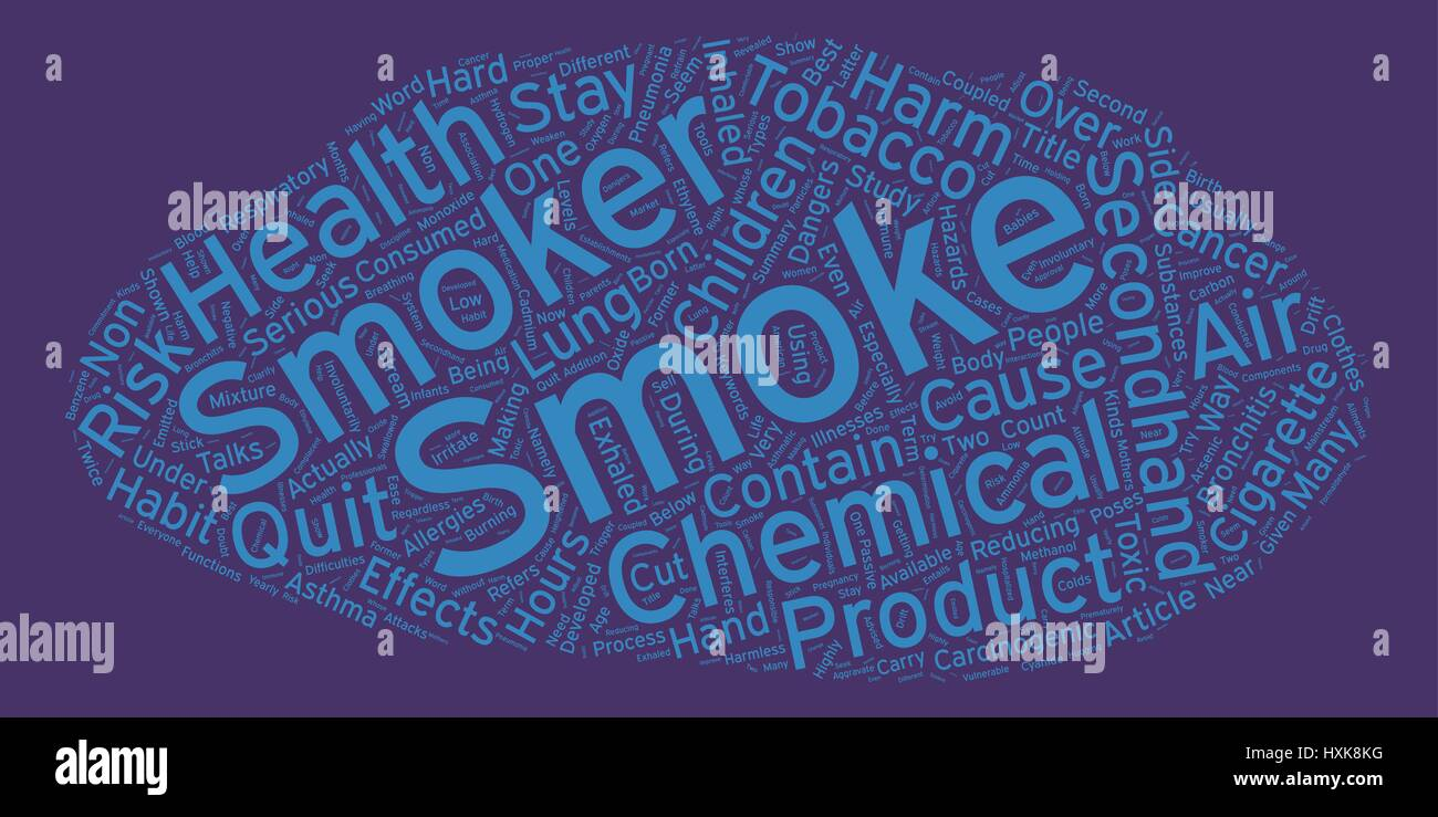 The Hazards of Secondhand Smoke text background wordcloud concept - Stock Vector
