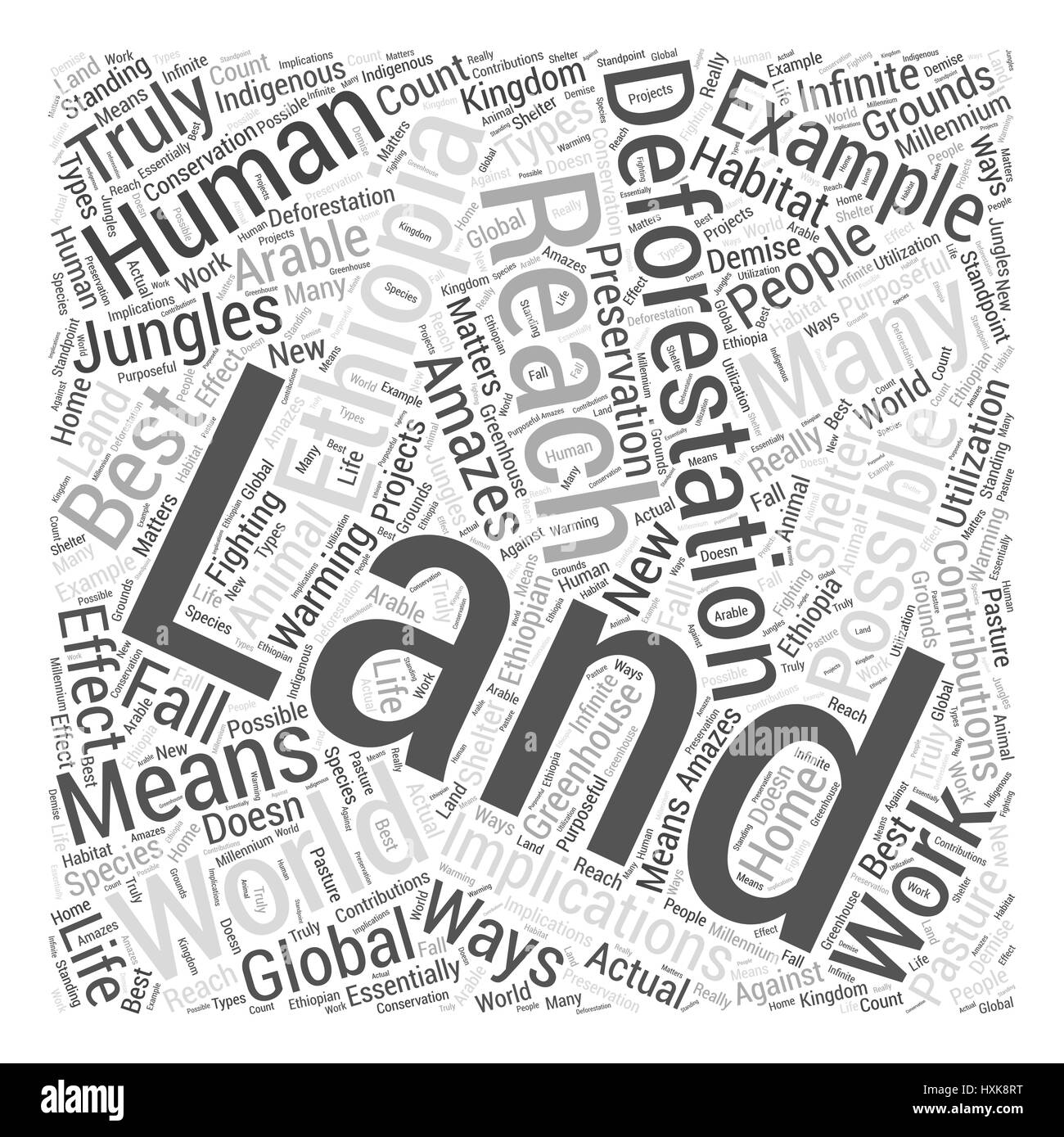 The Implications Of Deforestation In Ethiopia Word Cloud Concept - Stock Image