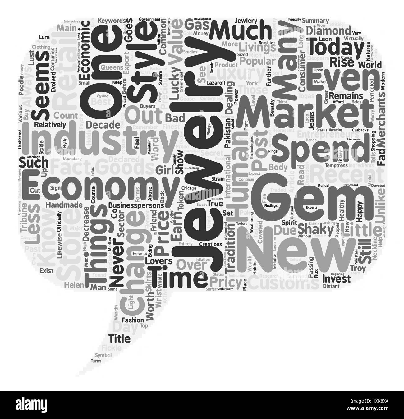The Jewelry Market Never Goes out of Style even in a Bad Economy text background wordcloud concept - Stock Vector