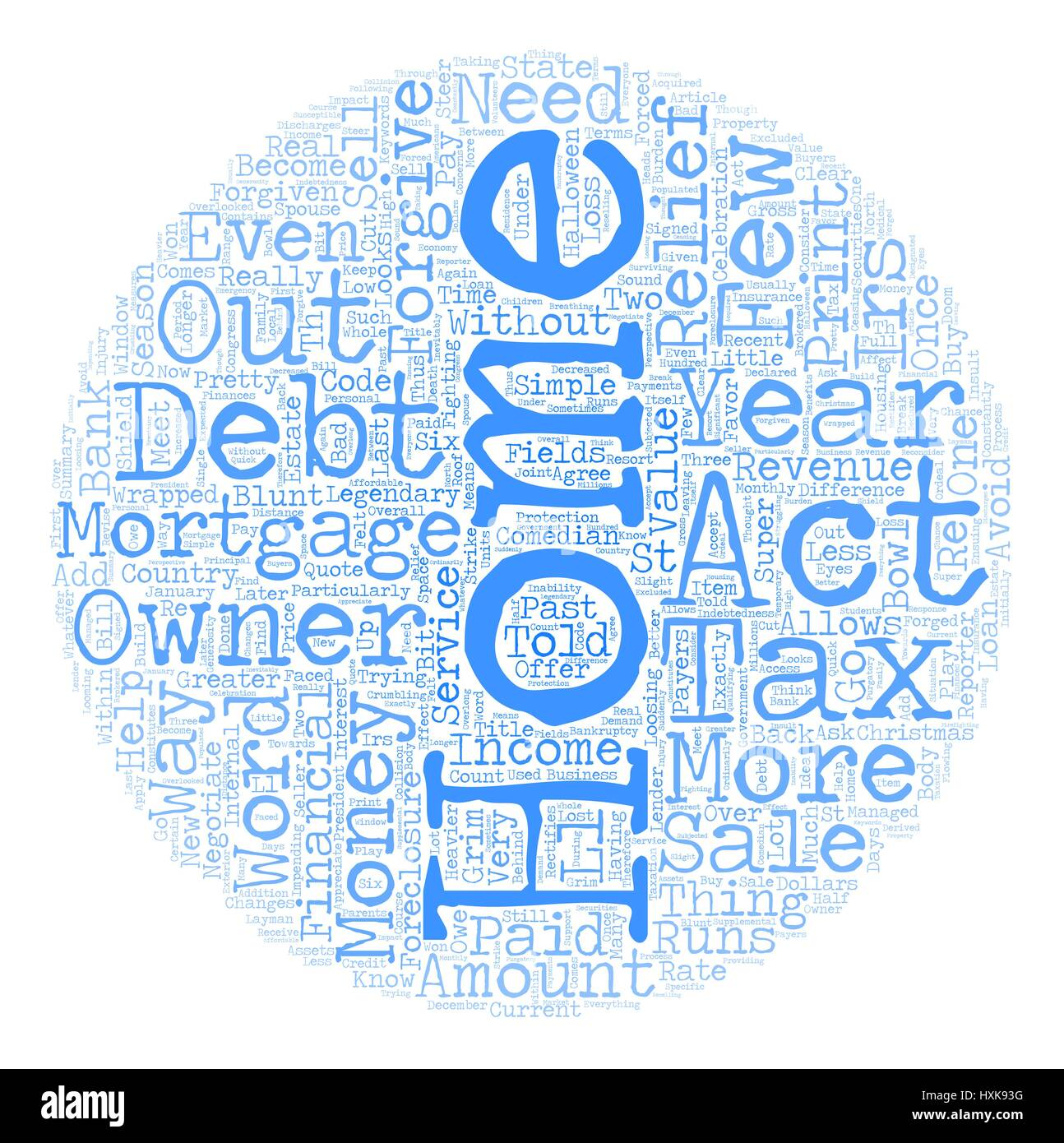 The Mortgage Forgiveness Debt Relief Act of 2007 what you need to know text background wordcloud concept - Stock Vector