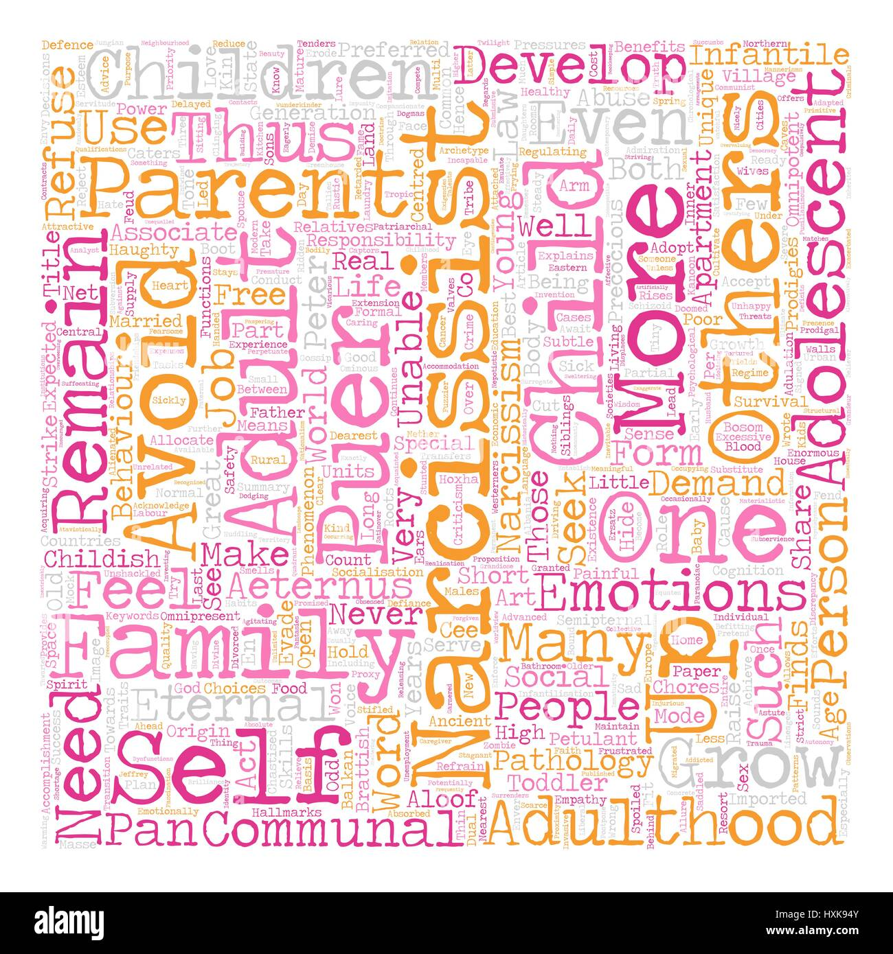 The Narcissist as Eternal Child text background wordcloud concept - Stock Vector