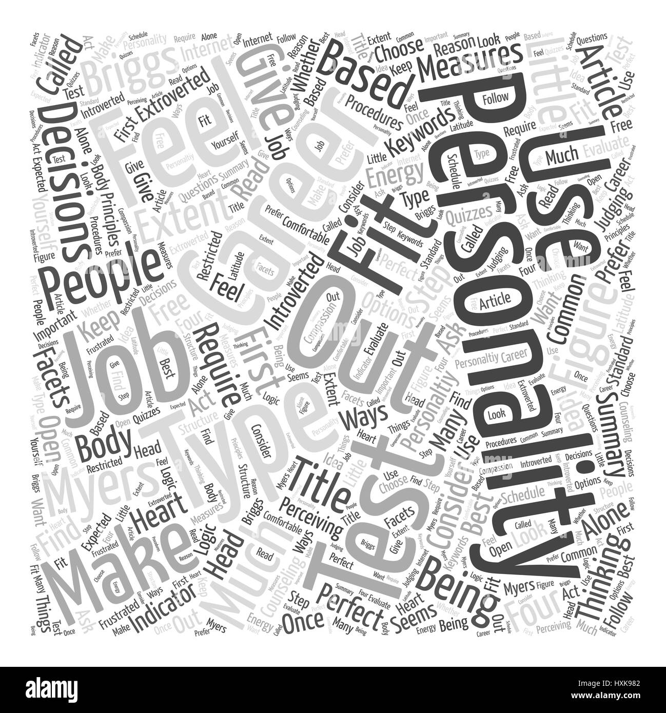 The Perfect Career for Your Personality Word Cloud Concept - Stock Image