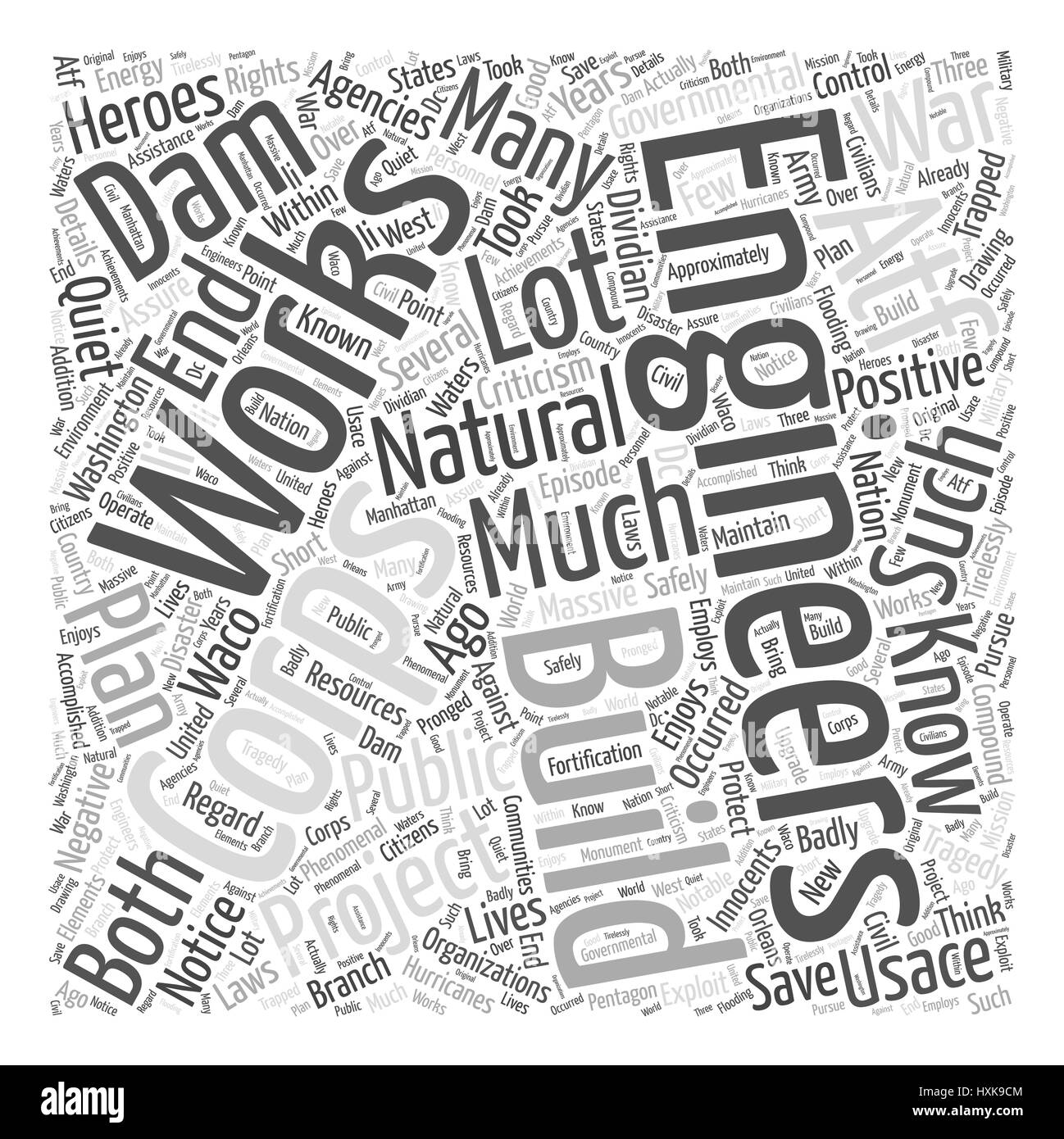 The Quiet Heroes The Corps of Engineers Word Cloud Concept - Stock Image
