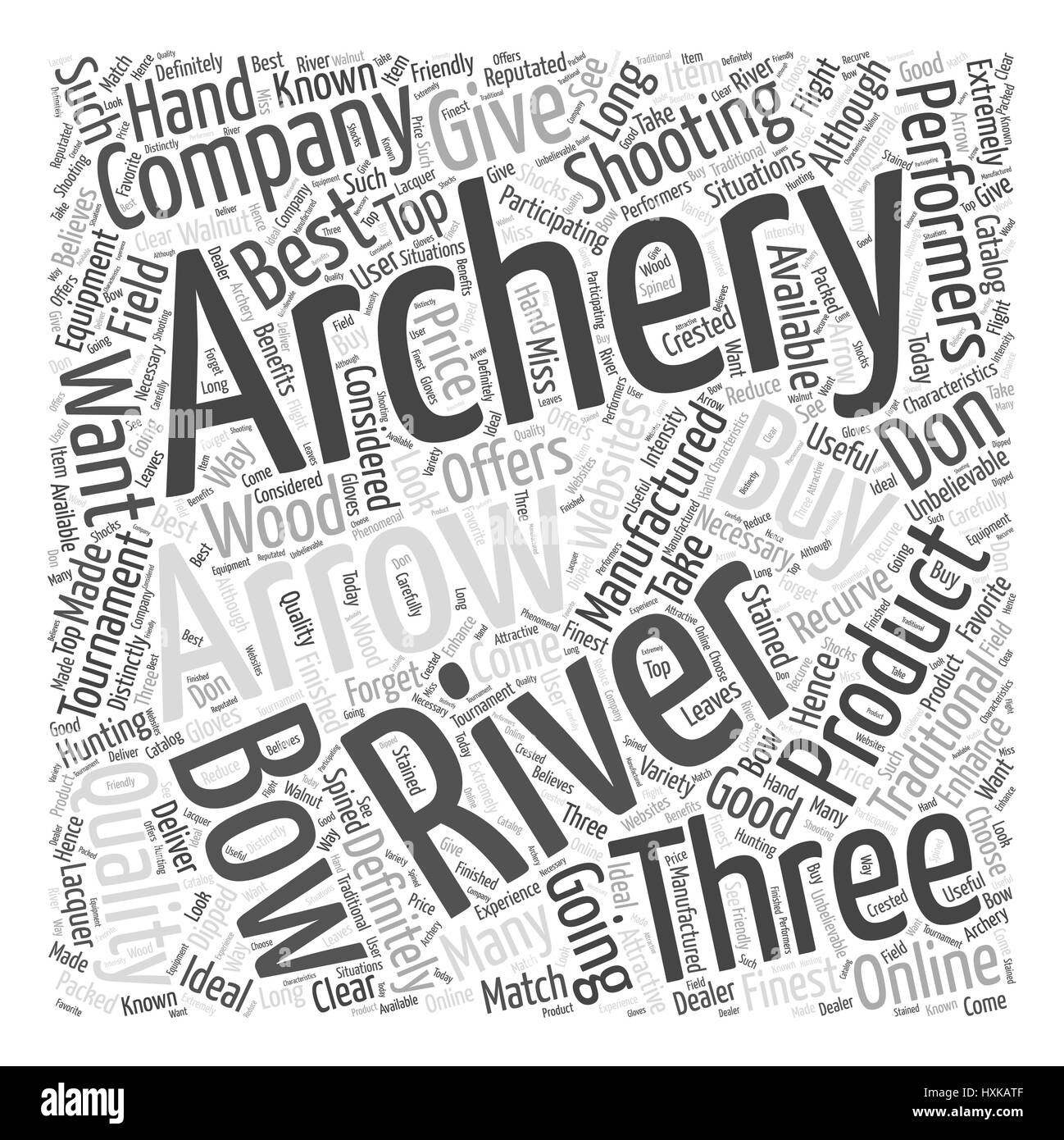 three rivers archery Word Cloud Concept - Stock Image